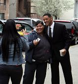 NEW YORK CITY - APRIL 15: Actor Will Smith greets a crowd of fans on the set of Men In Black 3 (MIB3) which is being filmed in New York City on April 15, 2011.