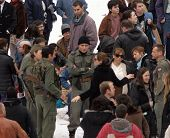 ESZTERGOM, HUNGARY - NOVEMBER 8: Angelina Jolie (in sunglasses) directs a crowd scene on the set of her directorial debut