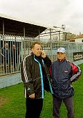 BELGRADE, YUGOSLAVIA - 29 MARCH: One of the world's most infamous war criminals, Zeljko Raznatovic, left, better known as Arkan, at a practice of his soccer team on March 29, 1999.