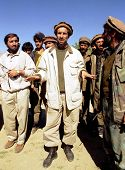 MAZAR, AFGHANISTAN - 03 OCTOBER: Anti-Taliban forces co-leader Shah Massood, seen here at center on