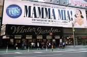 NEW YORK - APR 3: The exterior of the  Winter Garden theater, featuring the play Mamma Mia! on Broad