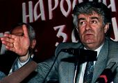 SARAJEVO, BOSNIA - MAY 6: Bosnian Serb leader Radovan Karadzic gestures during a news conference  af