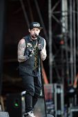 BUDAPEST, HUNGARY - AUG 11: The American rock band Good Charlotte in concert at the annual Sziget Festival in Budapest, Hungary, on Thursday, August 11, 2011. Seen here is lead singer Joel Madden.