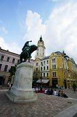 PECS, HUNGARY - JUNE 4: A statue of Janos Hunyadi, a leading Hungarian general against the 15th cent