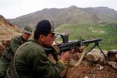 NORTHERN IRAQ - MAY 3: Turkish troops guard a strategic hilltop in northern Iraq. Turkey has again s