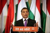 BUDAPEST, HUNGARY - APR 12: Hungarian prime minister Viktor Orban holds a press conference in Budape