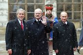 BRATISLAVA, SLOVAKIA - FEBRUARY 24: United States President George W. Bush, left, today met with Rus