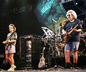 EAST RUTHERFORD, NEW JERSEY - AUGUST 3: The Grateful Dead in concert in East Rutherford, New Jersey, on Sunday, August 3, 1994. Seen here is Bob Wier, left, and Jerry Garcia.