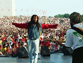 WASHINGTON, D.C. - JULY 4, 1994: Reggae musician Ziggy Marley in concert on the Mall in Washington,