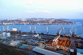 VLADIVOSTOK - NOVEMBER 24, 2002:  The port of Vladivostok, Russia, on November 24, 2002. The city is