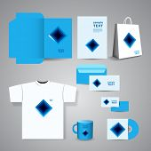 Stationery, Corporate Image Design with Blue Squares