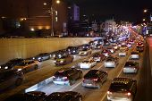 MOSCOW, RUSSIA - DEC 24, 2013: Traffic jam at night. Moscow Mayor Sobyanin building roads to solve p