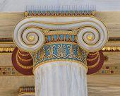 colorful classical Ionic column capital