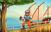 Illustration of a woodman at the forest near the sea with a ship