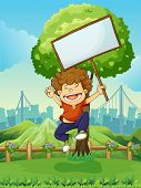 Illustration of a happy boy jumping while holding an empty signboard