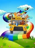 Illustration of a zoo bus travelling through the rainbow road