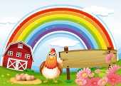 Illustration of a hen at the farm with a rainbow and an empty signboard
