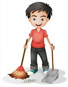 stock photo of sweeper  - Illustration of a boy sweeping the dirt on a white background - JPG