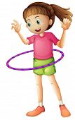 stock photo of hulahoop  - Illustration of a young girl playing hulahoop on a white background - JPG