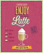 Vintage Latte Poster. Vector illustration.
