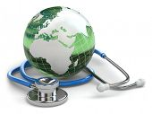 Global healthcare. Earth and stethoscope on white isolated background. 3d