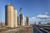 rural Colorado scenery - grain elevators and railroad tracks
