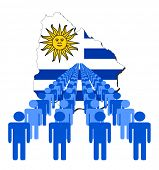 Lines of people with Uruguay map flag illustration