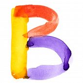 Letter B - colorful watercolor alphabet