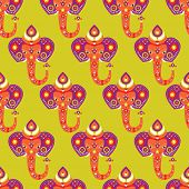 Seamless oriental india elephant illustration background pattern in vector