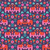 foto of indian elephant  - Seamless Indian elephant exotic illustration background pattern in vector - JPG