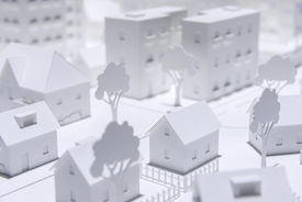 stock photo of suburban city  - Suburban City With Plastic White Model Houses - JPG