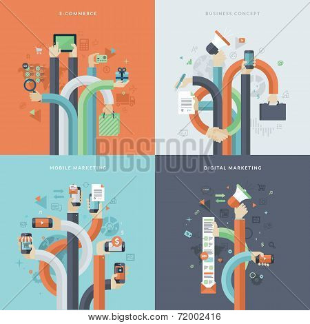 Set of flat design concept icons for business and marketing poster