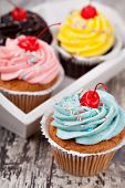 Cupcake on a wooden table