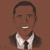 September 15, 2014 - Barack Obama president of United States. Hand drawn portrait, Vector illustrati
