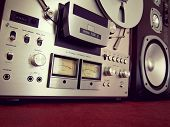 Analog Stereo Open Reel Tape Deck Recorder VU Meter Device Closeup
