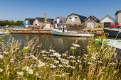 pic of lobster boat  - Boats docked at fishing village near Cavendish - JPG