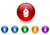 pen internet icons colorful set
