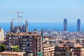 The center of Barcelona on a sunny day