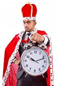Man king with clock isolated on the white
