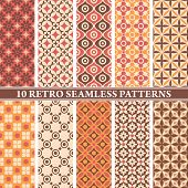 set of 10 retro seamless patterns vector illustration