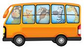 foto of ant-eater  - Illustration of many animals on a bus - JPG