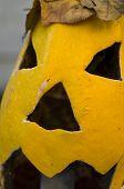 Yellow Halloween Pumpkin Closeup