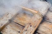 pic of steamy  - Steamy Wet Brown Fragrant Wooden Lid Closeup - JPG