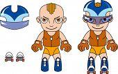 Toy sporty boy character. Raster illustration.