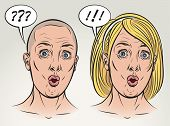 Young woman is surprised with something. Face expression study. Raster illustration in comics style.