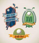 Set of vintage styled golf tournament labels. Raster illustration.