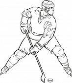 Ice hockey player in action. Raster illustration.