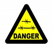 Triangle Barbed Wire Sign