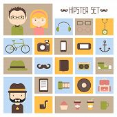 Hipster vector colorful style elements and characters icons set for retro design. Infographic concep
