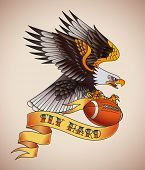 American football tattoo design of an eagle with a leather ball in its claws. Raster illustration.